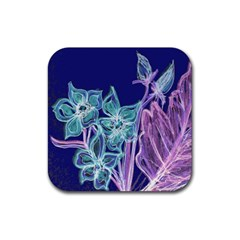 Purple, Pink Aqua Flower Style Rubber Square Coaster (4 Pack)  by Contest1918526