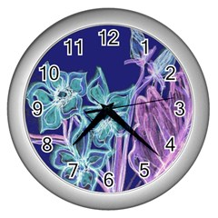 Purple, Pink Aqua Flower Style Wall Clocks (silver)  by Contest1918526