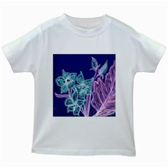 Purple, Pink Aqua Flower Style Kids White T Shirts