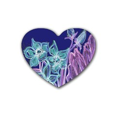 Purple, Pink Aqua Flower Style Rubber Coaster (heart)  by Contest1918526