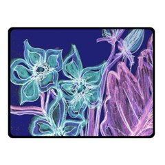 Purple, Pink Aqua Flower Style Fleece Blanket (small)