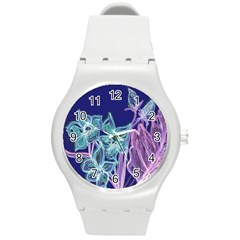 Purple, Pink Aqua Flower Style Round Plastic Sport Watch (m) by Contest1918526