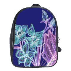 Purple, Pink Aqua Flower Style School Bags (xl)  by Contest1918526