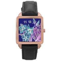 Purple, Pink Aqua Flower Style Rose Gold Watches