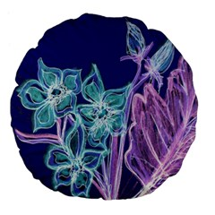 Purple, Pink Aqua Flower Style Large 18  Premium Flano Round Cushions by Contest1918526