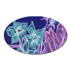 Purple, Pink Aqua Flower Style Oval Magnet by Contest1918526