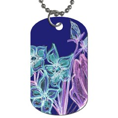 Purple, Pink Aqua Flower Style Dog Tag (two Sides)