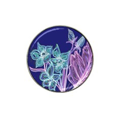 Purple, Pink Aqua Flower Style Hat Clip Ball Marker (10 Pack)