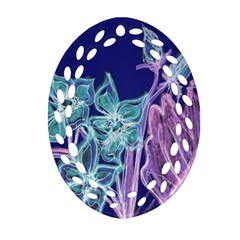 Purple, Pink Aqua Flower Style Oval Filigree Ornament (2 Side)  by Contest1918526