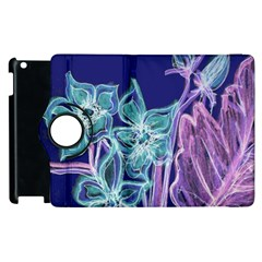Purple, Pink Aqua Flower Style Apple Ipad 2 Flip 360 Case by Contest1918526