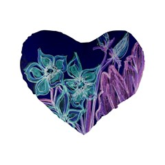 Purple, Pink Aqua Flower Style Standard 16  Premium Flano Heart Shape Cushions by Contest1918526