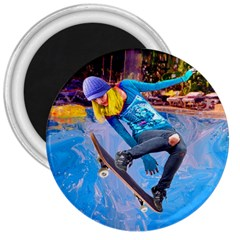 Skateboarding On Water 3  Magnets by icarusismartdesigns