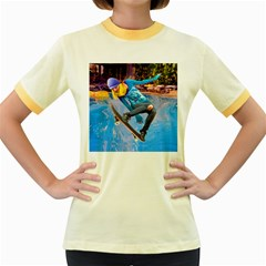 Skateboarding On Water Women s Fitted Ringer T Shirts by icarusismartdesigns