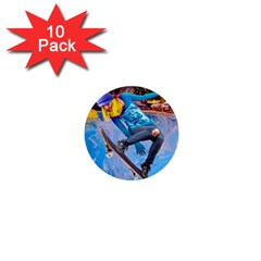 Skateboarding On Water 1  Mini Buttons (10 Pack)  by icarusismartdesigns