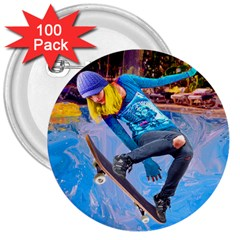 Skateboarding On Water 3  Buttons (100 Pack)  by icarusismartdesigns