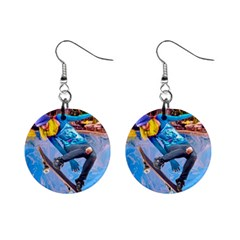 Skateboarding On Water Mini Button Earrings