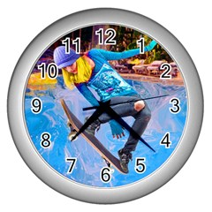 Skateboarding On Water Wall Clocks (silver)  by icarusismartdesigns