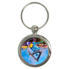 Skateboarding On Water Key Chains (round)  by icarusismartdesigns
