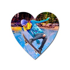 Skateboarding On Water Heart Magnet by icarusismartdesigns