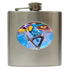 Skateboarding On Water Hip Flask (6 Oz) by icarusismartdesigns