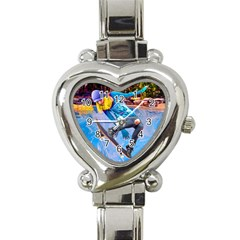 Skateboarding On Water Heart Italian Charm Watch by icarusismartdesigns