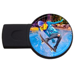Skateboarding On Water Usb Flash Drive Round (4 Gb)  by icarusismartdesigns