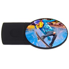 Skateboarding On Water Usb Flash Drive Oval (4 Gb)  by icarusismartdesigns