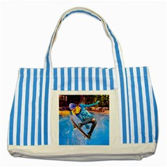 Skateboarding On Water Striped Blue Tote Bag  by icarusismartdesigns