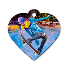 Skateboarding On Water Dog Tag Heart (one Side) by icarusismartdesigns