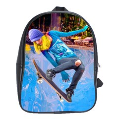 Skateboarding On Water School Bags(large)  by icarusismartdesigns