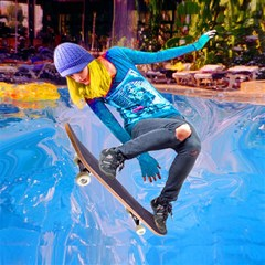 Skateboarding On Water Magic Photo Cubes