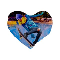 Skateboarding On Water Standard 16  Premium Heart Shape Cushions by icarusismartdesigns