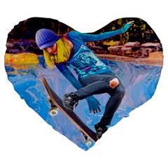 Skateboarding On Water Large 19  Premium Heart Shape Cushions by icarusismartdesigns