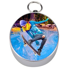 Skateboarding On Water Silver Compasses by icarusismartdesigns