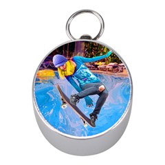 Skateboarding On Water Mini Silver Compasses by icarusismartdesigns
