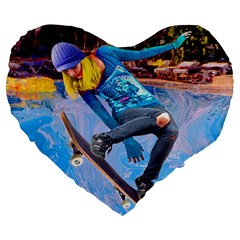 Skateboarding On Water Large 19  Premium Flano Heart Shape Cushions by icarusismartdesigns