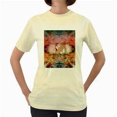 Nature And Human Forces Cowcow Women s Yellow T-shirt by infloence
