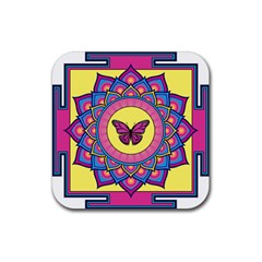 Butterfly Mandala Rubber Square Coaster (4 Pack)  by GalacticMantra