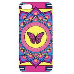 Butterfly Mandala Apple Iphone 5 Hardshell Case With Stand