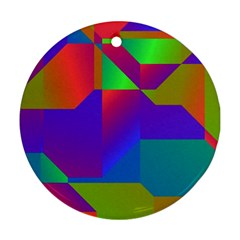 Colorful Gradient Shapes Round Ornament (two Sides) by LalyLauraFLM