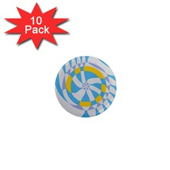 Abstract Flower In Concentric Circles 1  Mini Magnet (10 Pack)