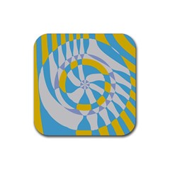 Abstract Flower In Concentric Circles Rubber Square Coaster (4 Pack) by LalyLauraFLM