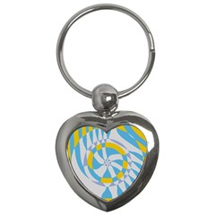 Abstract Flower In Concentric Circles Key Chain (heart) by LalyLauraFLM