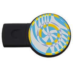 Abstract Flower In Concentric Circles Usb Flash Drive Round (4 Gb) by LalyLauraFLM