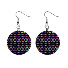 Colorful Round Corner Rectangles Pattern 1  Button Earrings by LalyLauraFLM