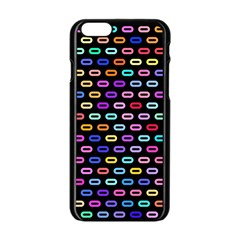 Colorful Round Corner Rectangles Pattern Apple Iphone 6 Black Enamel Case by LalyLauraFLM