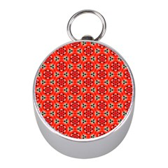 Lovely Orange Trendy Pattern  Mini Silver Compasses by creativemom