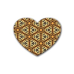 Faux Animal Print Pattern Heart Coaster (4 Pack)