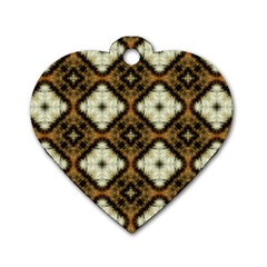 Faux Animal Print Pattern Dog Tag Heart (two Sides)