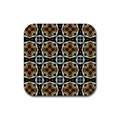 Faux Animal Print Pattern Rubber Square Coaster (4 Pack)  by creativemom